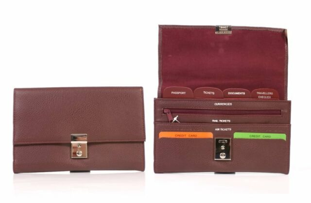 Travel Bag Wallet Purse Document Organizer Lock and Key Passport Tickets Bag
