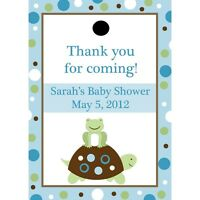 24 Personalized Baby Shower Favor Tags - Turtle And Frog