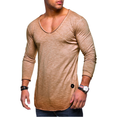 Mens Casual T Shirt Top Muscle Sports Blouse Slim Fit Stretch Plain Basic Tee UK