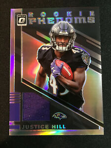 Justice-Hill-2019-Donruss-Optic-Jersey-Rookie-Phenoms-RP33-Baltimore-Ravens
