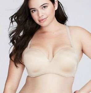 e4ea473fb2a Details about used CACIQUE Multi Way Boost Strapless Plunge Bra Beige tan  Lane Bryant 42G