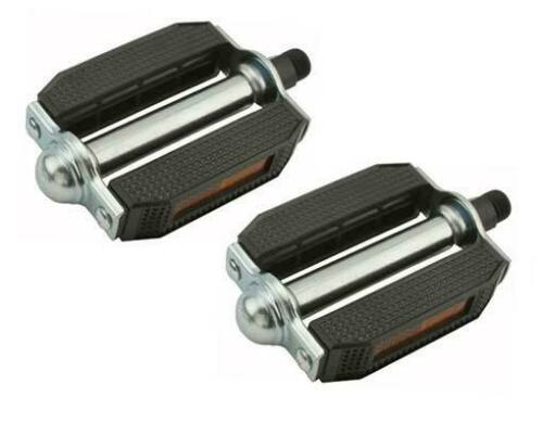 """New Bicycle PVC Pedals Block 1//2/"""" or 9//16/"""" Black//Chrome"""