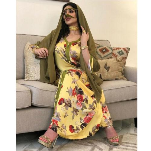 Dubai Abaya Women Casual Long Dress V-Neck Cocktail Party Gown Muslim Kaftan