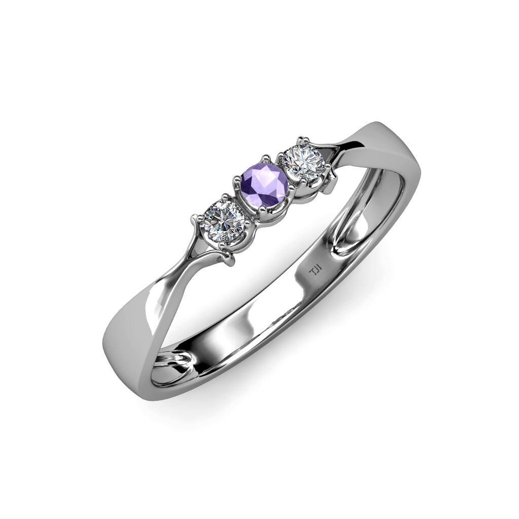 Iolite with Side Diamond (SI2-I1, G-H) 3 Stone Ring 0.16 ct tw in 14K gold