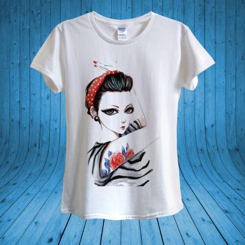 Girl Big Eyes Red Lipstick Roses Tatoo T-shirt 100/% cotton unisex women