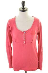Crew-Clothing-Co-Damen-Top-Langarm-Groesse-14-Medium-Pink-Baumwolle