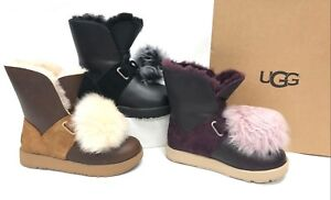 70260dfa48a Details about UGG Australia ISLEY WATERPROOF LEATHER POM POM Boots Chestnut  Port Black 1018605