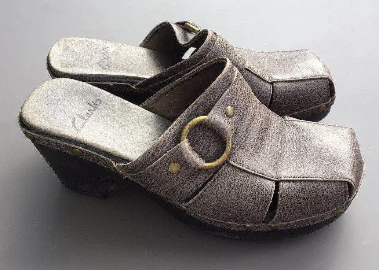 Clarks Leather Mule Clog 6.5 Eu 40 Chunky Heel Brown Grey Boho Buckle Holiday