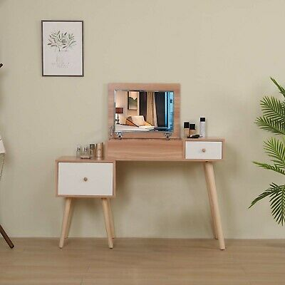 Wooden Dressing Table With Mirror, Oak Dressing Table With Fold Down Mirror