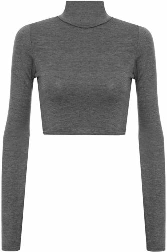 Ladies Plain Cropped Long Sleeve Roll Neck Top Womens Polo Size 8 10 12 14