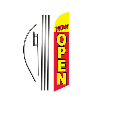 Twin Pack Swooper Flags /& Pole Kits Yellow with Big White Red Text OPEN