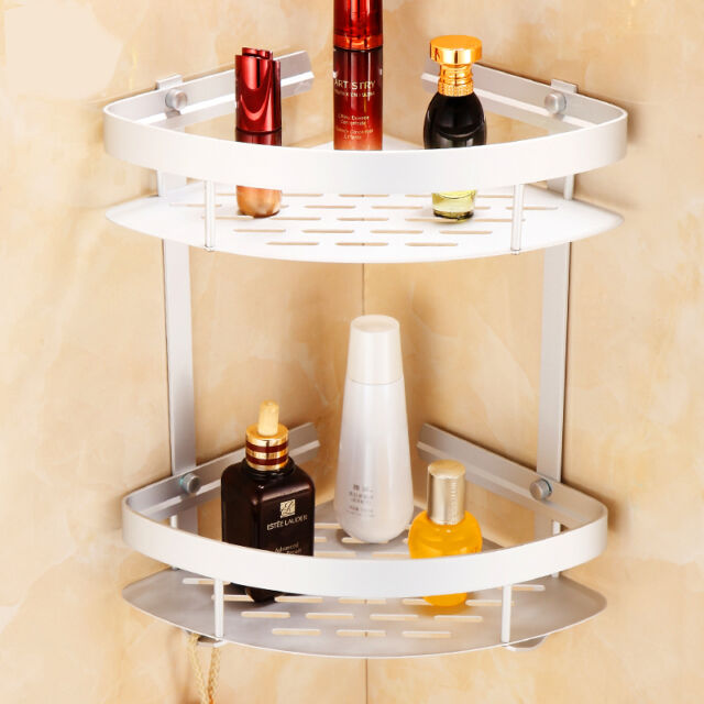 2 Tiers Triangular Shower Caddy Shelf Bathroom Corner Rack Storage ...