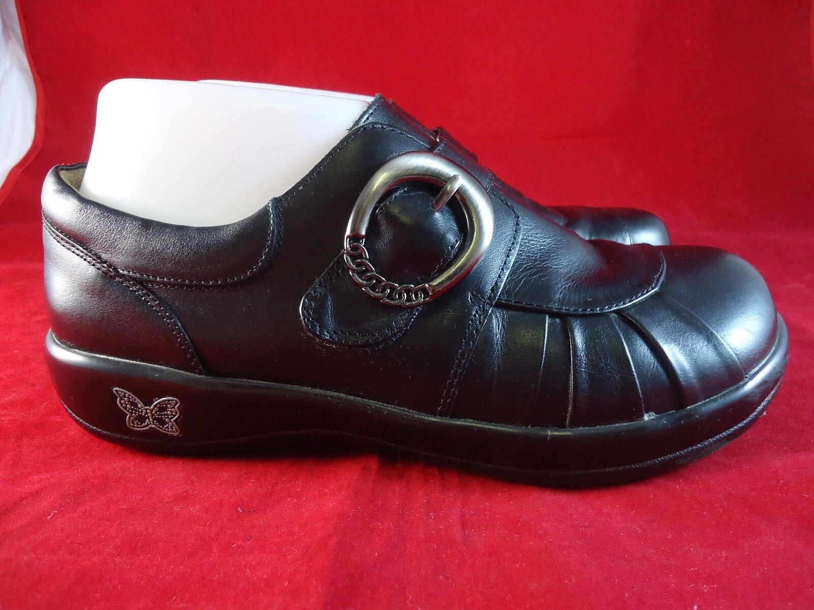 ALEGRIA Par PG LITE Khloe femmes noir Cuir Mocassins chaussures Sz US 6.5-7 EU 37