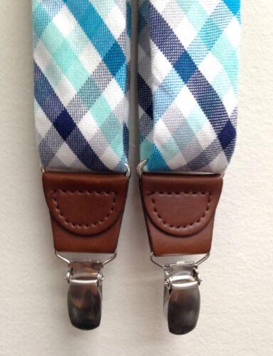 $75 CLUB ROOM New Men/'s BLUE WHITE PLAID Braces Clip-End Adjustable Suspenders