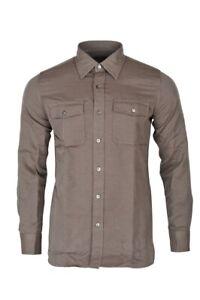 Tom-Ford-Shirt-Men-039-s-39-Dark-brown-Cotton-Plain
