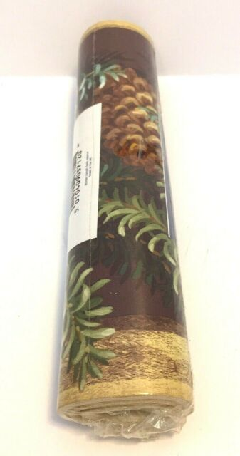 Vymura Rustic Pinecone Branch Boughs Trail Country Wallpaper Border Wall Decor