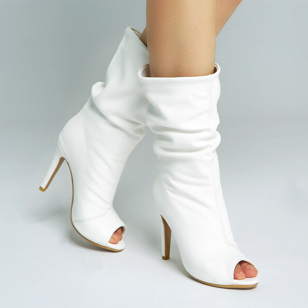 Fashion Donna Peep Toes Slouch Stivali High Heel Solid White PU Pelle Booties