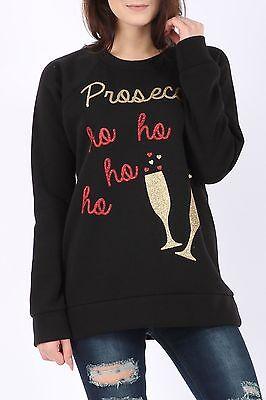 NOVELTY LADIES WOMENS CHRISTMAS GLASS PROSECCO HO HO HO JUMPER SWEATSHIRT TOP