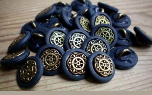 Vestido Elegante Oro Antiguo Botones De Oro Antiguo Con Azul