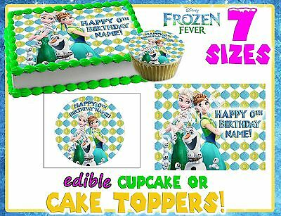 Frozen fever Birthday Cake topper Edible paper sugar cupcake decal transfer 2
