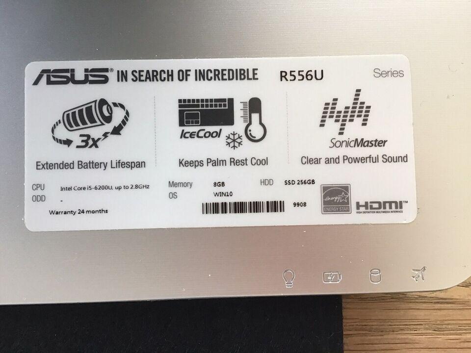 Asus R556u, 2,3 GHz, 8 GB ram