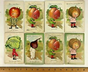 Lot-8-Antique-1907-TUCK-E-Curtis-Post-Cards-Garden-Patch-Signed-Divided-Gift