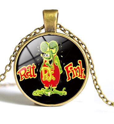 Time Gem Necklace Silvery Metal Vintage Legends Rat Fink Big Daddy Ed Roth Rare