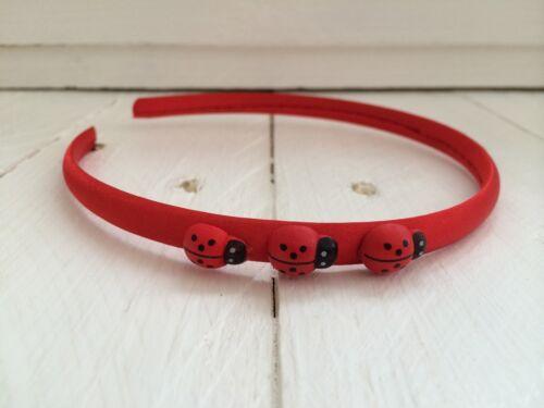 Red Satin Girls Hairband Headband Alice Band with Ladybirds School Uniform