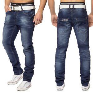 Herren-5-Pocket-Jeans-Hose-Slim-Fit-Straight-Denim-washed-dunkelblau-Stretch
