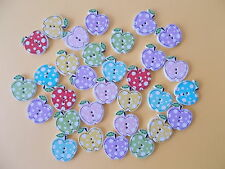 20 X APPLE SHAPED WOOD MIXED COLOURS BUTTONS-SCRAP BOOKING - SEWING