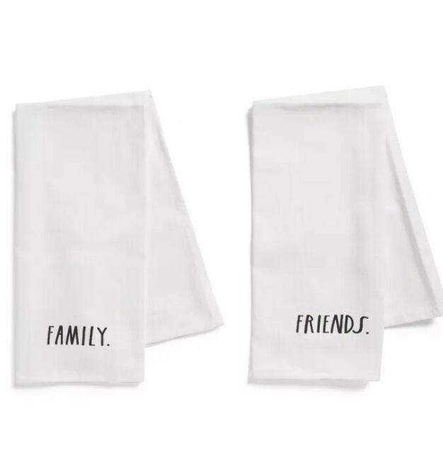 RAE DUNN Farmhouse 100% Cotton Kitchen Dish Towels Family & Friends Set Of 2