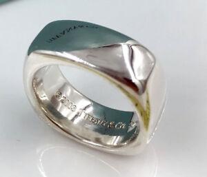 e8f0879db Tiffany Co Sterling Silver Square Cushion Band Ring 692639150869   eBay