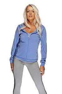 Bad Girl Ladies Fitness Top Gym or casual Wear BG Lightweight Hoodie Blue