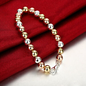 10K-Tri-Color-Gold-Plated-Valentino-Bracelet-8-inch-1-5mm-Wide-ITALY-MADE