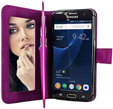 Purple Case for Samsung Galaxy S7 EDGE Phone - Flip Wallet + Mirror