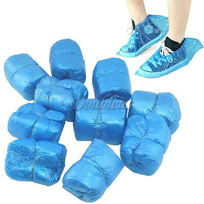 50 Pairs 100 PC Disposable Plastic Thick Shoe Covers Overshoes Protective Carpet