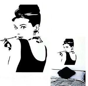 Das Bild Wird Geladen Wandbild Audrey Hepburn Wandtattoo Deko Klebesticker 27x57 Cm