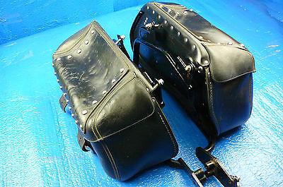 2005 Yamaha V-Star XVS650 Both Saddle Bags Leather Luggage OEM