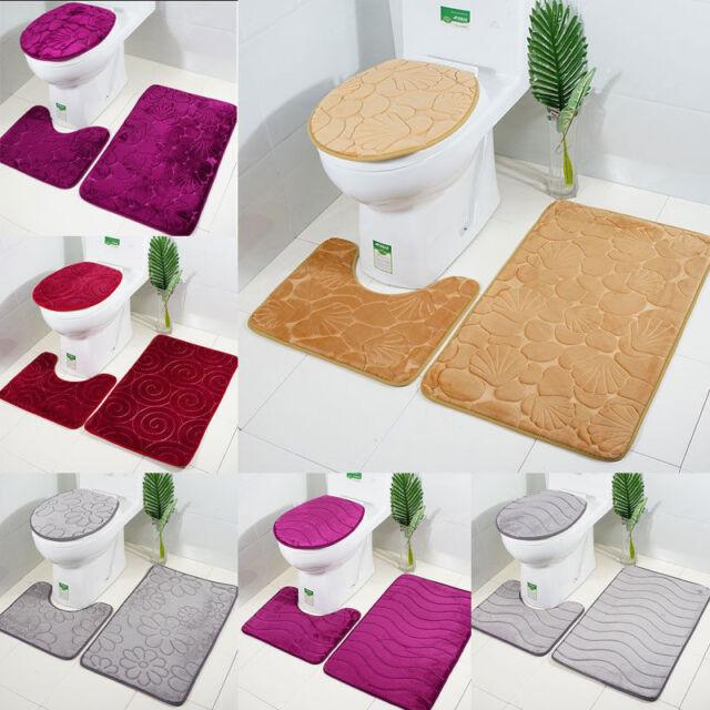 3 tlg Badteppich Badematte Teppich Dusch Bad WC Vorleger rutschfest Badezimmer