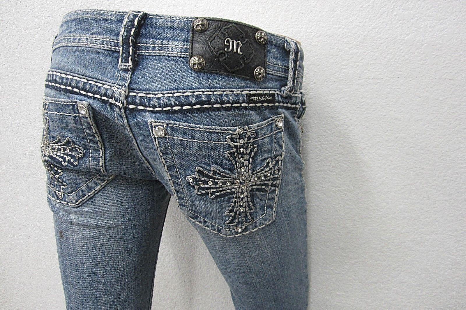 NICE MISS MEBoot Cut Denim Embellished Cross CUTE bluee JEANS Size W26 x L31