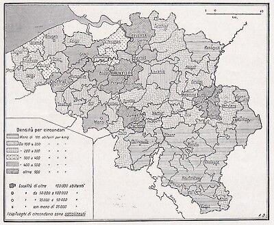 Cartina Del Belgio Da Stampare.D4748 Densita Della Popolazione Del Belgio Mappa D Epoca 1935 Vintage Map Ebay