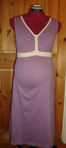BNWT Femmes Maternité mauve//crème SANS MANCHES NUIT ROBE TAILLE L 14-16