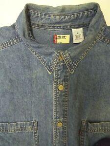 Levi-039-s-Denim-Shirt-Herren-Regular-Fit-Knopfleiste-grosse-mittelblau-LSHT-703