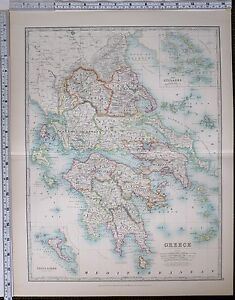 1904 LARGE MAP GREECE MOREA CYCLADES CORFU PAXO MESSENIA LACONIA