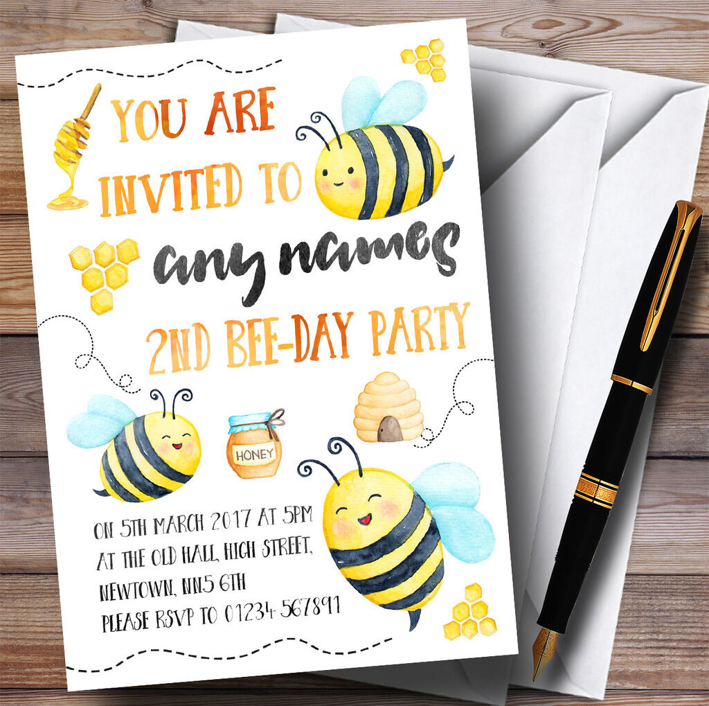 Aquarelle Bumble Bees Childrens Birthday Party Party Birthday Invitations c867b2