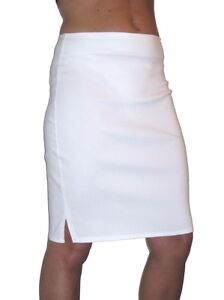 NEW-2356-ladies-knee-length-skirt-split-detaill-white-6-18