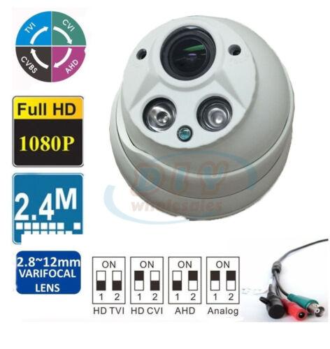 HD-TVI//CVI//AHD 2.4MP Matrix IR 1080p HD Outdoor Dome Security Camera 2.8-12mm