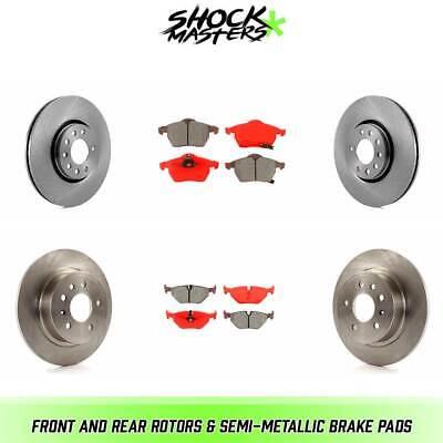 Front Rear Disc Rotors /& Semi-Metallic Brake Pads Fits Saab 9-5