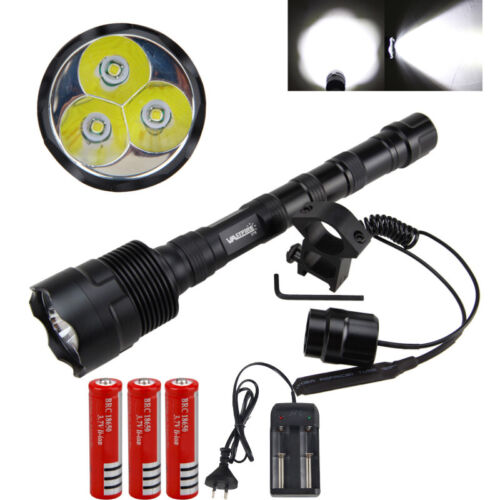 Tactical 3 x T6 LED Hunting Flashlight Torch Light 18650 Mount Pressure Switch