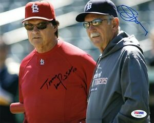 TONY-LARUSSA-amp-JIM-LEYLAND-DUAL-SIGNED-AUTOGRAPHED-8x10-PHOTO-RARE-PSA-DNA